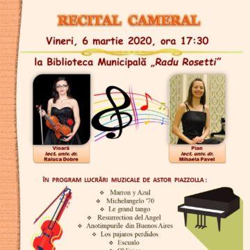 """Recital cameral la Biblioteca Municipală  """"Radu Rosetti"""" din Onești"""