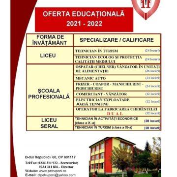 """Viitorul tău  începe aici! Alege Liceul Tehnologic """"Petru Poni""""  din Onești!"""