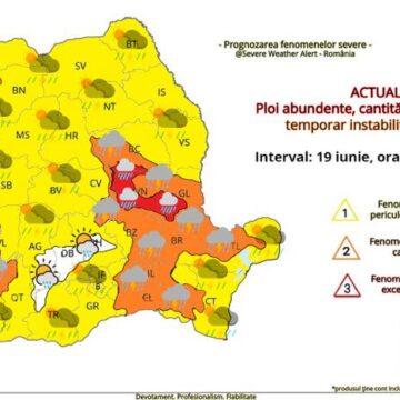 Ploi abundente, cantități de apă însemnate, temporar instabilitate atmosferică