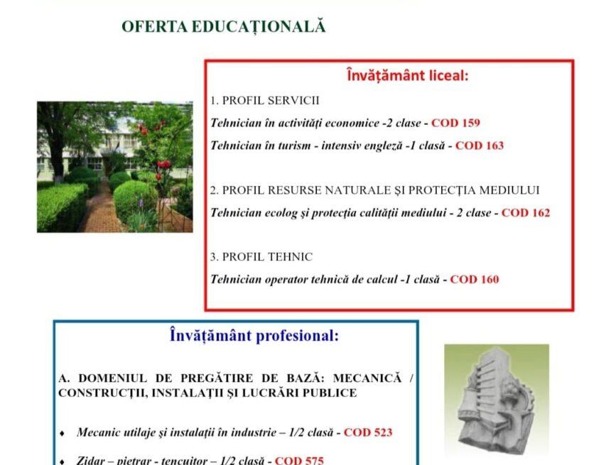 """Oferta educațională a Colegiului Tehnic """"Gheorghe Asachi"""" din Onești în anul școlar 2021 – 2022"""