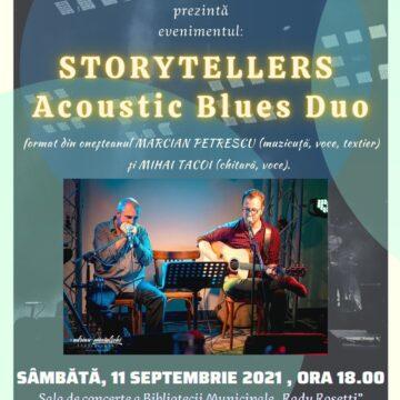 Concert blues cu Marcian Petrescu și Mihai Tacoi  la biblioteca  oneșteană