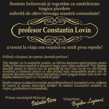 Drum lin printre îngeri, spre lumină, domnule  PROFESOR, LOVIN CONSTANTIN!