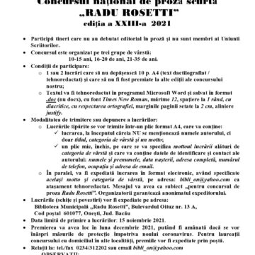 """Concursuri  culturale la  Biblioteca  Municipală  """"Radu Rosetti"""" din Onești"""